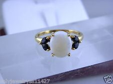 NATURAL WHITE OPAL & SAPPHIRE GEMSTONES RING IN 14K YELLOW GOLD, SZ 11.25