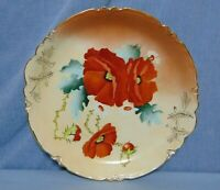 Hand Painted Decorative Plate Charger Red Flowers Gilt Victorian Porcelain 13""