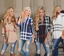 UK Womens V Neck Loose Printed Long Sleeve Ladies Casual Shirt Tops Blouse Hot