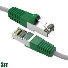 3FT Cat5E RJ45 Network LAN Ethernet FTP Shield Crossover Cable Copper Green Boot