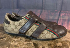 Gucci Shoes Chaussures Mens Vintage Leather Canvas Logo Sneakers Sz. 8.5 170607