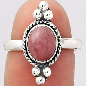 Natural Rhodochrosite Argentina 925 Sterling Silver Ring s.7 Jewelry E239