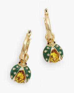 NWT Talbots 2-In-One Garden Charm Lady Bug Hoop Earrings Gold Tone Green $34.50