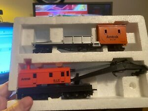 🚅 HO SCALE Bachmann  Amtrak M of W Crane and Boom Cars -NICE 💥 H036