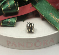 PANDORA TWO TONE LOVE KNOT CHARM 790153 RETIRED Genuine Ale 925