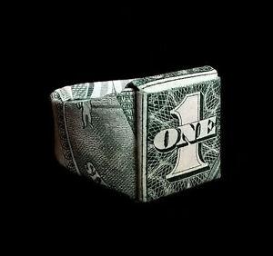 Origami Mens Signet Class RING Money Handmade School Gift US Real $1 Dollar Bill
