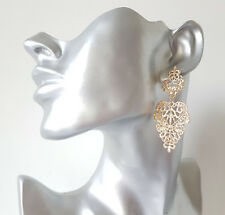 Beautiful 6cm long gold tone metal lace - filligree drop earrings