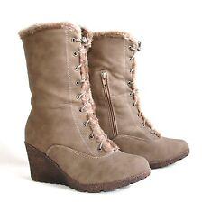 Damen Stiefeletten Stiefel 40 Braun Winter Schuhe Keilabsatz Shoes Neu FC11-Y76
