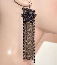 ORECCHINI fili pendenti lunghi grigio neri strass donna ciondolo stella G35