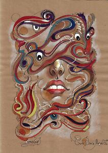 original painting A3 273MG art Surrealism Mixed Media illustration female lips