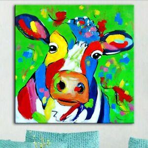 Colourful Cow Street Art Printed Deep Framed Box Canvas. Various sizes