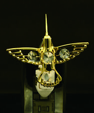 24K Placcato Oro Cristallo Swarovski Studded Hummingbird Luce Notturna Ul Listed
