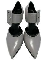 DRIES VAN NOTEN GRAY LEATHER MARY JANE PUMPS, 37.5, $995