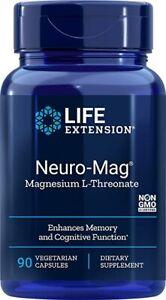 Neuro-Mag Magnesium L-Threonate Memory Life Extension 90 Capsules Caps Authentic