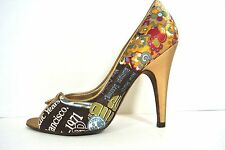 CARLOS SANTANA Shoes 6M Gold Multi color open toe high heel women's Pumps *1008