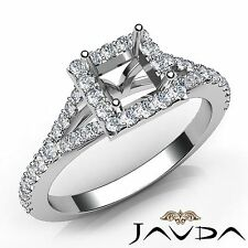 0.5Ct Princess Semi Mount Diamond Engagement 14k White Gold Halo Prong Set Ring