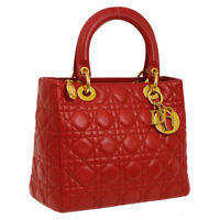 Auth Christian Dior Lady Dior Cannage 2way Hand Bag Red Leather Vintage  A41997 b2eda580f981e