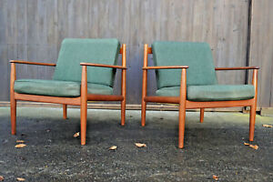 60er Vintage Teak Armchair Grete Jalk Retro Easy Chair France & Son Danish