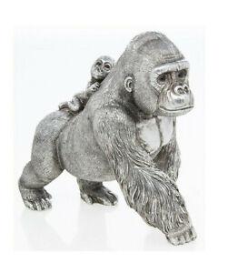 Silver Gorilla and Baby Ornament Monkey Ape Figurine Art Sculpture Present Gift