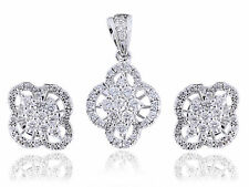 Pave 1.45 Cts Round Brilliant Cut Diamonds Pendant Earrings Set In Fine 14K Gold
