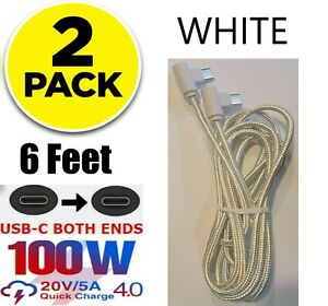 2 Pack 6FT USB-C to USB-C Cable Braided Fast Charger Charging Data Type-C Cord