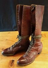 Vtg 1920s Womens Tall Lace-up Boots. 5.5-C Wearable.
