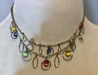 "16"" double strand necklace hoops colored stones Beads"