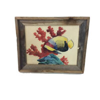 """Watercolor Fish Framed Artwork 17"""" x 14"""" Signed Ready to Hang"""