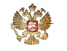 WW2 USSR Soviet badge Gold crest Imperial eagle lapel tie pin Russian army hat