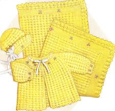 Vintage Crochet PATTERN to make Baby Set Bonnet Sacque Jacket Afghan Marguerite