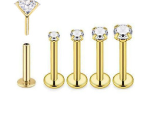 20g 18g 16g Push Top Threadless Gold Nose Stud Labret Earrings Tragus Helix Ring