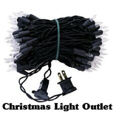 FREE SHIP 100 Mini Clear/White Christmas Outdoor String Lights 23foot Black Wire