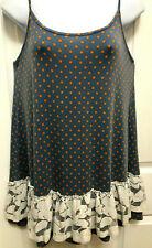Matilda Jane Sz XL Blue & Orange Polka Dot & Lace Cami Spaghetti Strap Tank Top