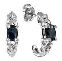Saphir Ohrstecker  Saphir  Diamant  Halb Creole 925  Sterling Silber