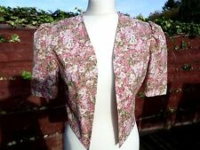 Vintage Laura Ashley Floral Bolero / Jacket - Size  10 / 12 Made in UK