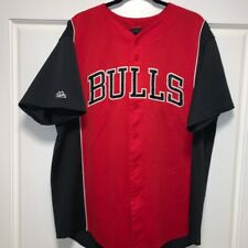 Majestic Chicago Bulls Red & Black Embroidered Baseball Jersey Size XXL