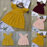 Summer Toddler Baby Girls Fly Sleeve Solid Dress Clothes Kids Party Casual Dress