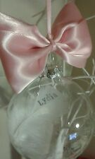 personalised family friend name Xmas keepsake feather bauble present christmas