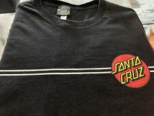 """Vintage """"Santa Cruz"""" Skateboards Logo Stripe T Shirt Mens Black Large Surf Skate"""