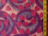 FUCHSIA HEARTS IN HEARTS PRINT ON PURPLE PINK 100% COTTON FABRIC BY THE 1/2 YARD