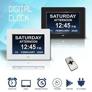 Digitale Tagesuhr LED Kalender Demenz Alarm Zeit Datum Monat Jahr Speicherverlus