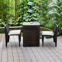 Rattan Wicker Patio Cushioned Outdoor Chair and Table Set Furniture Small Space