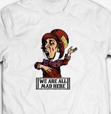 MAD HATTER ALICE IN WONDERLAND RETRO 100% cotton Mens VINTAGE STEREO T-shirt Tee