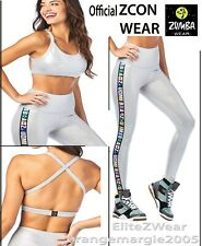 ZUMBA High Waisted Ankle Leggings + Bra Top in Silver Metallic 2Pc.SET! S M L XL
