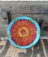 Vintage Enamel Art Dish signed gorgeous rich floral marigolds lois derthick nice
