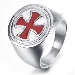 Men's Stainless Steel Cast RED Celtic Cross Ring Knights Templar Shield Masonic