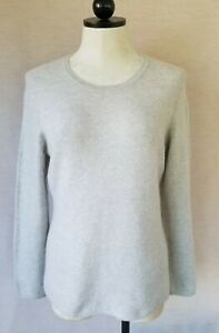 Lord And Taylor Womans 100% Cashmere Light Gray  Sweater Size Large