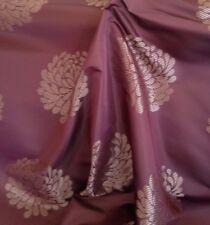 9 Mts Quality Designer Aubergine Brocade Chrysanthemum Floral Curtain Fabric