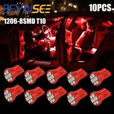 10pcs T10 LED 1206-8SMD Ultra Red W5W 194 168 Car Interior Dash Board Light Bulb