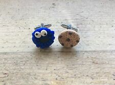 Cufflinks Cookie Monster Handmade Valentines Birthday Gift Cute Fathers Day